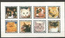 Republic of Equatorial Guinea 1978. Sheet of 8 stamps  - cats, No Gum