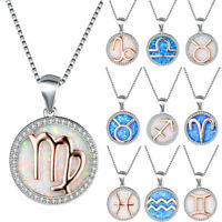925 Silver Fire Opal Pendant Necklace 12 Constellations Birthstone Jewelry
