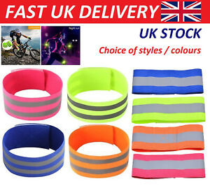 FLUORESCENT REFLECTIVE HI VIS VIZ ARM BANDS RUNNING JOGGING WALKING CYCLING GEAR