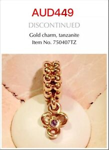 Genuine Pandora 14ct Gold Dangle Flower Charm With tanzanite, 750407TZ, Retired.
