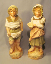 "Antique Heubach Germany 9"" Bisque Boy & Girl Fish Monger Fishing Figurine Set"