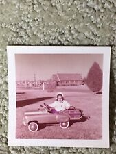 Original Vintage 1957 Kodacolor Print of Little Girl Playing Antique Pedal Car