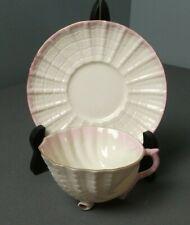 Belleek Neptune Shell Shape Tea Cup w/ Saucer - Cream w/ Pink - Ireland - j jr