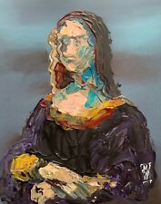 ORIGINAL Mona Lisa Abstract Realism Palette Knife Art Painting Remix DaVinci