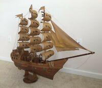 "Vintage Tall Ship Handmade Wooden Ship 43""×35"""