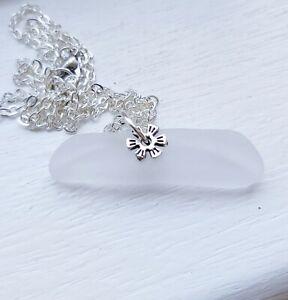 White  sea glass  pendant necklace
