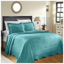 Superior Geometric Design Scalloped Bedspread Peacock Blue 3-pc King 100% Cotton