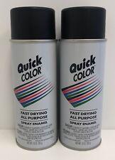 2 Quick Color Spray Enamel Flat Black Modeling & Craft Paint 10 oz New J28538