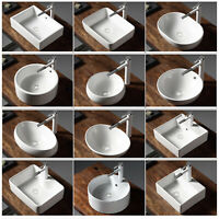 Modern Above Counter Porcelain Ceramic Bathroom Vessel Sink Vanity Single Basin
