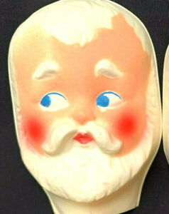 Vintage NOS Plastic Santa Claus Face Christmas Doll Head Cloth Craft