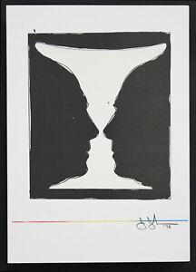 Original Jasper Johns Lithograph Mid Century Modern 1970's Plate Signed w. COA