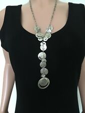 Silpada Sterling Silver Circle Disc Necklace Unique Drop Design N2110 Ret $249+