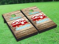 Happy Camper Cornhole Board Wrap Set Laminated Wraps Decals Vinyl Sticker