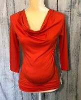 Isabella Oliver Leiston Maternity Top Size 2 US Size 6 Orange Ruche Stretch Cowl