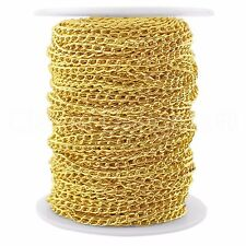 Curb Chain Spool - 30 Feet - Gold - 3x5mm Link - Bulk Roll