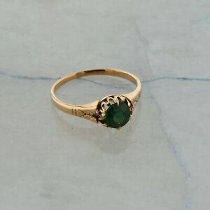 Edwardian 10K Yellow Gold Emerald Ring Size 6.5