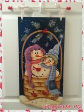 Hand Painted  Snowman & Cardinals Wooden Banner, Wall Hanging, Seasonal, Winter
