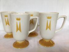 Vintage Mcm Yellow Homer Laughlin Marriott Hotel Irish Coffee Cups Footed Mugs