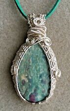Ruby in Zoisite Gemstone Cabochon Wire Wrapped Pendant Necklace
