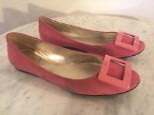 """Roger Vivier Paris """"Gommette"""" Pink Suede Ballet Flats Women's Sz 39. Made Italy."""