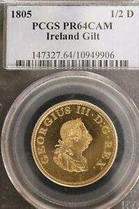 Ireland 1805 Gilt  Half Penny Proof PR64 CAM PCGS Rare! b1L17