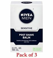 NIVEA Men Sensitive Post Shave Balm Extra Gentle Alcohol-Free 3.3 Oz Pack of 3