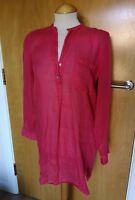 Ladies ZARA Pink Tunic Top Size XS 8 10 Smart Casual Semi Sheer