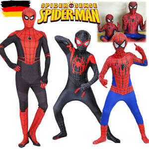 Karneval Spiderman Kostüm Kinder Jumpsuit Weihnachten Spielanzug Overall DE