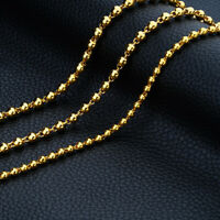 "Men's/Women's Bead Necklace Chain 18k Yellow Gold Filled Fashion Jewelry 22"" 24"""