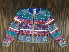 Vintage Leslie Fay Evenings Silk Lined Sequin Open Beaded Jacket Blazer Sz M