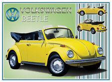 Grand VW Coccinelle Volkswagen cabriolet convertible Métal Signe Mur tin plaque 626