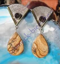 Pendientes Cuarzo Ahumado Sahara jaspe piedra des aries EN PLATA DE LEY 925