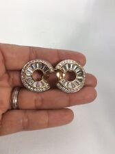 Vtg Signed Swan Swarovski crystal Spiral Hoop Gold Tone Clip On Earrings
