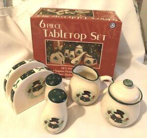 Christmas 5 Piece Table Top Set-Snowman-Comes in Original Box-Stoneware