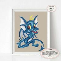 Blue Dragon in love Embroidery Cross stitch PDF Pattern - 094 Valentines gift