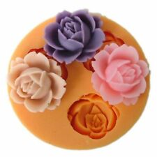 3D 3 ROSE FLOWER Silicone Fondant Cake Topper Mold Mould Chocolate Candy Baking