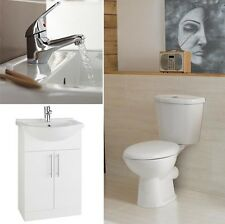 Toilet & Basin Vanity 550mm Pure White Unit Suite Including Tap