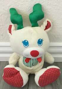 Vintage Fisher Price Cozies Plush Reindeer Waffle Weave Christmas 1998 Lovey