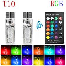 2PCS T10 6SMD 5050 RGB LED Car Wedge Side Light Reading Lamp Bulb+Remote Control