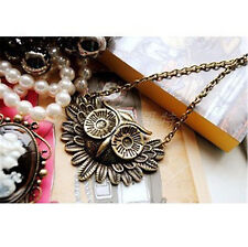Vintage retro style bronze owl head charm necklace