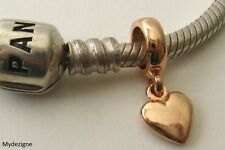 GENUINE SOLID 9K 9ct  ROSE GOLD CHARM BEAD 3D LOVE HEART DROP