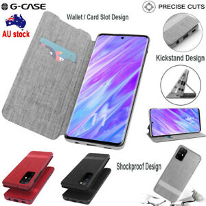 For Samsung Galaxy S20+ S20 UItra Wallet Card Slot Flip Canvas Stand Cover Case