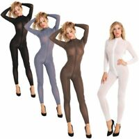Women Sheer Bodystocking Zipper Crotch Leotard Tops Bodysuit Lingerie Jumpsuit