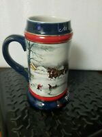 1990 Anheuser-Busch Budweiser Holiday Beer Stein, Collectors Series
