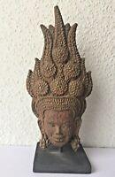 Rare APSARA SUR SOCLE ANGKOR VAT Khmer en papier mâché recyclé original Cambodge