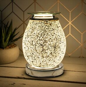 SILVER MOSAIC DESIRE AROMA ELECTRIC TOUCH LAMP WAX MELT AND OIL BURNER