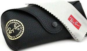 Ray Ban Black Leather Case Sunglasses Case Snap Travel Eyeglasses Case&New Cloth