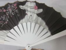Vtg Lot Ladies Fan White Pink Black Fabric Plastic Vane Spain Beautiful Floral