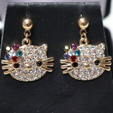 Kitty Cat Multi-Topaz AAA CZ Stud Earrings 14K Rose Gold Plated Women Jewelry