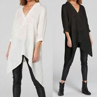 Women Long Sleeve Tunic Tops Asymmetrical Hem T-Shirt Basic Cotton Blouse Shirt